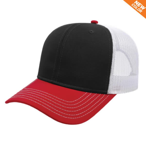 Black/Red/White Modified Flat Bill with Mesh Back Cap